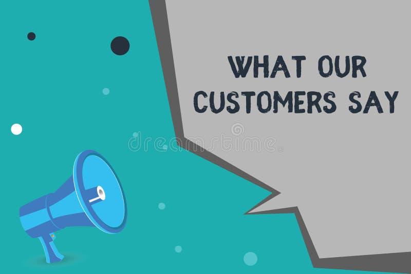Schreibensanmerkungsvertretung, was unsere Kunden sagen Geschäftsfoto, das zur Schau stellt, um Benutzer-Feedback zu kennen die V lizenzfreie abbildung