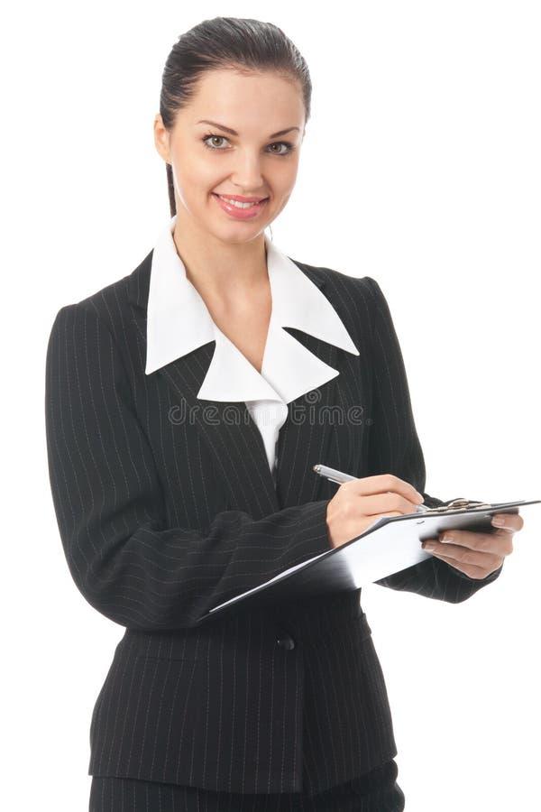 Schreibensgeschäftsfrau auf Weiß stockfotos