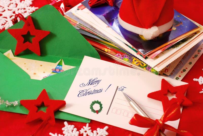 Schreibensgrußkarten für Weihnachten stockfotografie