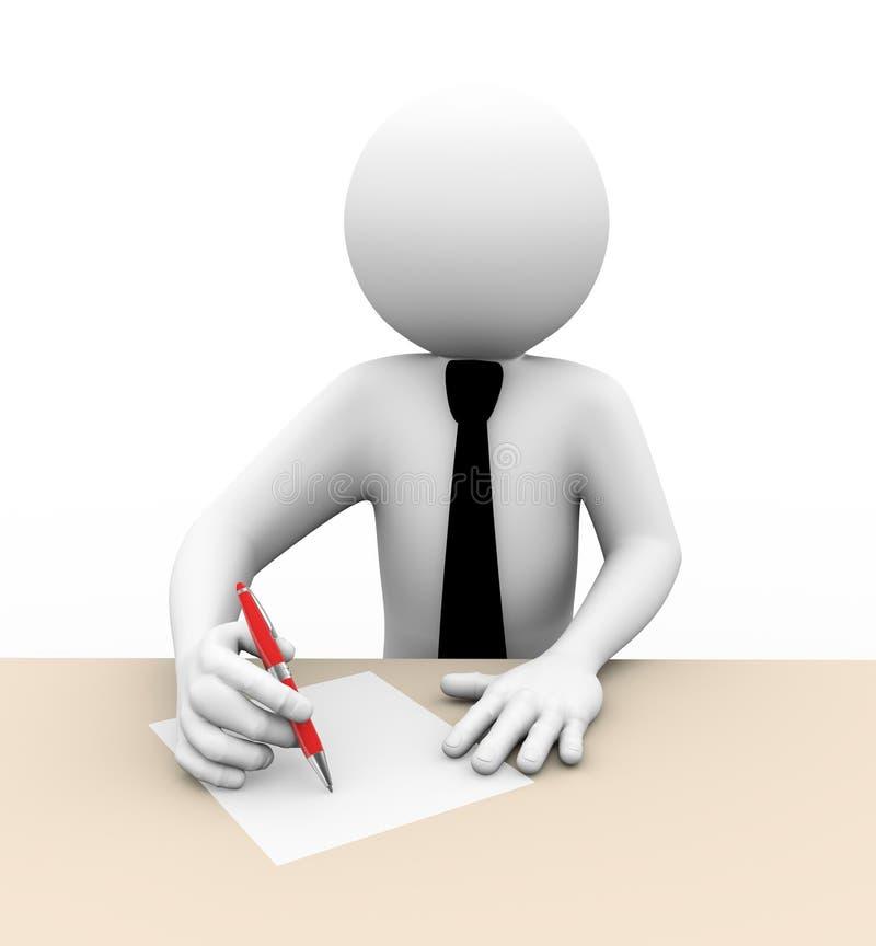 Schreibensillustration des Geschäftsmannes 3d vektor abbildung