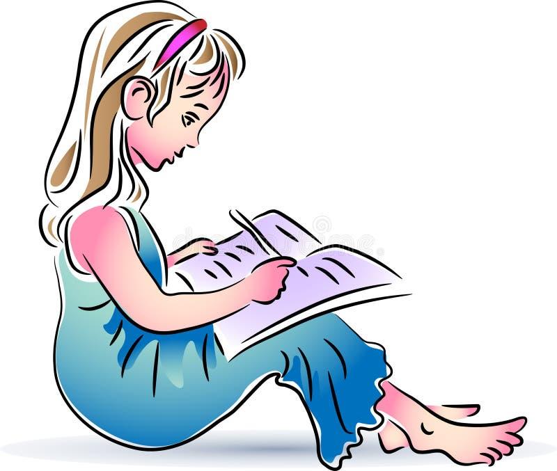 Schreibensmädchen stock abbildung