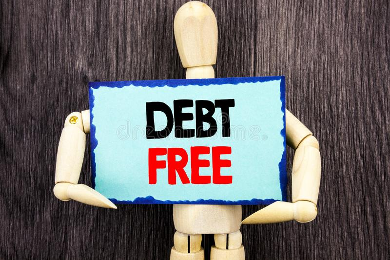 Schreibenstext, der frei Schuld zeigt Konzeptbedeutung Kredit-Geld-Finanzzeichen-Freiheit von der Darlehens-Hypothek geschrieben  lizenzfreie stockfotografie