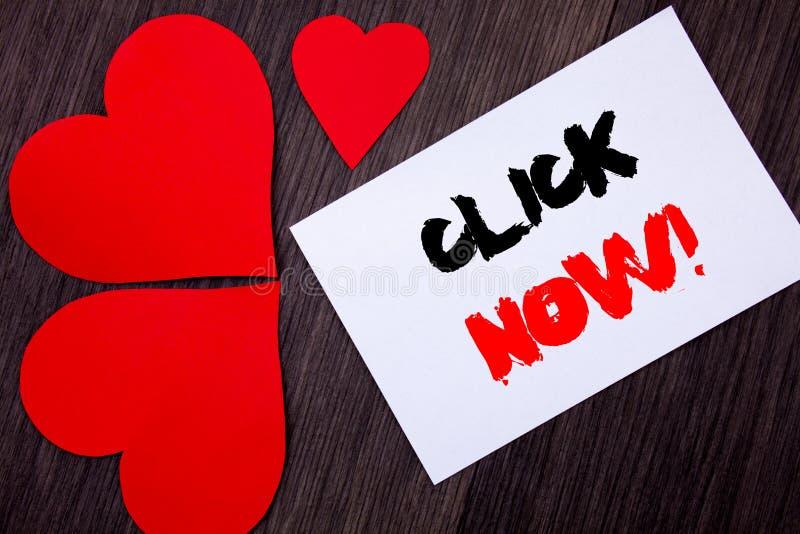 Schreibenstext-Vertretung Klicken jetzt Konzeptbedeutung Zeichen-Buch-oder Register-Fahne für Join Apply geschrieben auf notobook lizenzfreie stockbilder