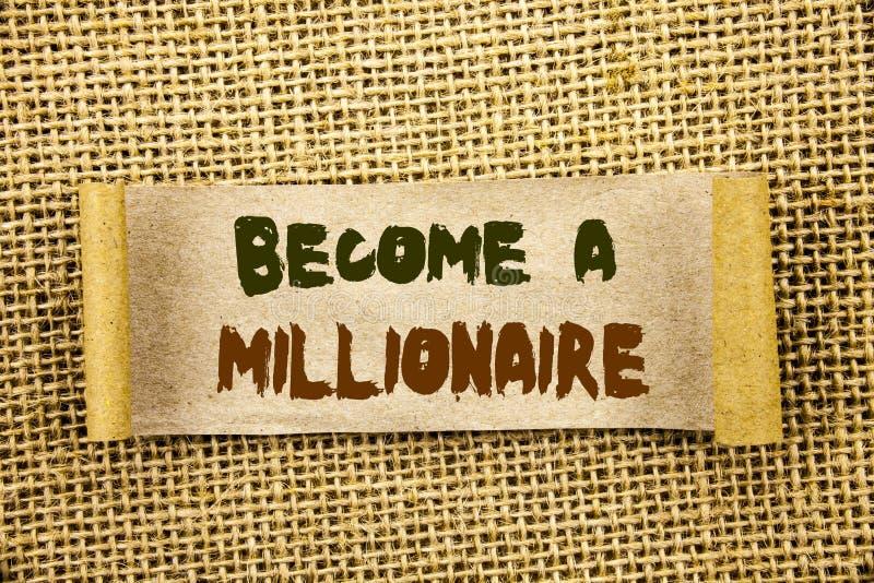 Schreibenstextvertretung stehen einem Millionär Geschäftsfoto Präsentationsehrgeiz, zum wohlhabend zu werden erwirbt Vermögens-gl stockbilder