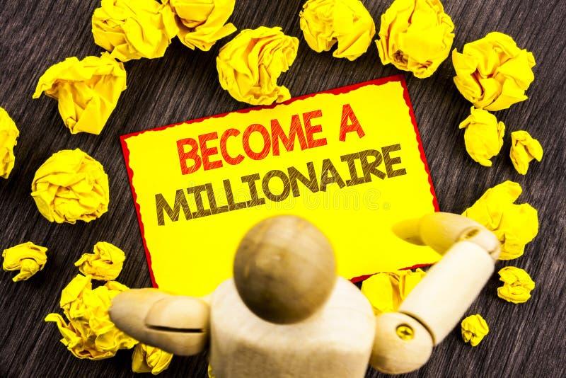 Schreibenstextvertretung stehen einem Millionär Geschäftsfoto Präsentationsehrgeiz, zum wohlhabend zu werden erwirbt Vermögens-gl lizenzfreies stockbild