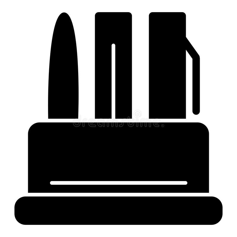 Schreibenszubehör in einer Behältervektorikone Schwarzweißabbildung von Stiften Feste lineare Büroikone stock abbildung