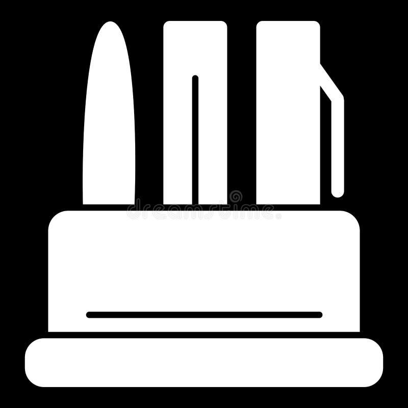Schreibenszubehör in einer Behältervektorikone Schwarzweißabbildung von Stiften Feste lineare Büroikone vektor abbildung