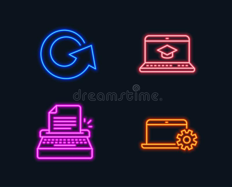 Schreibmaschinen-, Websitebildung und Umladenikonen Notizbuch-Service-Zeichen Verfassermaschine, Videolernen, Aktualisierung vektor abbildung