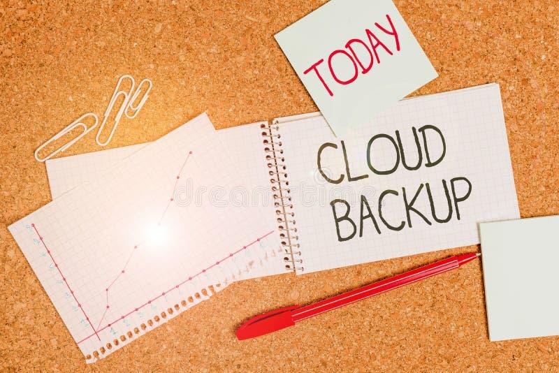 Schreibnotiz mit Cloud-Backup Business-Foto-Showinggehäuse ermöglichen den Kunden den Remote-Zugriff auf die lizenzfreie stockbilder