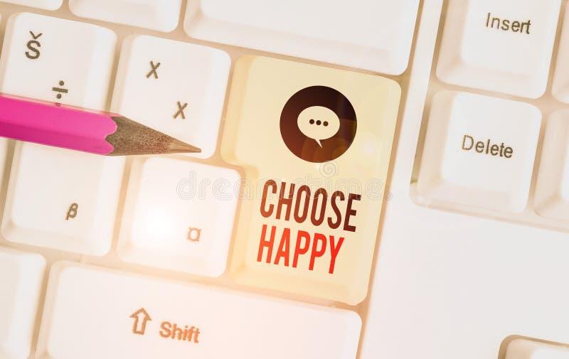 Schreibnotiz mit dem Titel Choose Happy Geschäftsfotos zeigen die Fähigkeit, für sich selbst ein echtes und dauerhaftes Glück zu  lizenzfreies stockbild