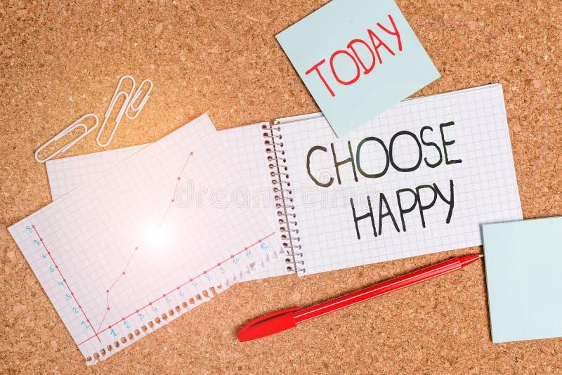 Schreibnotiz mit dem Titel Choose Happy Geschäftsfotos zeigen die Fähigkeit, für sich selbst ein echtes und dauerhaftes Glück zu  lizenzfreie stockfotos