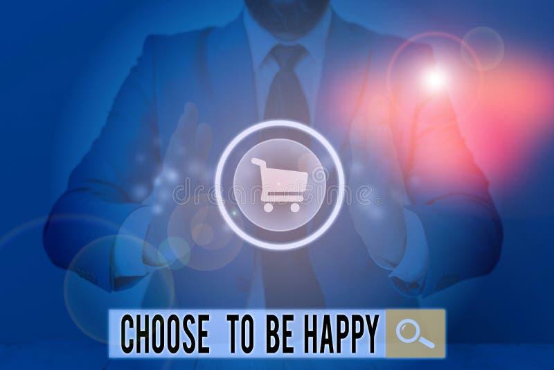 Schreibnotiz mit dem Titel Choose to be glücklich Business-Foto-Showcase Entscheidung in einer guten Laune Smiley fröhlich froh lizenzfreie stockfotos
