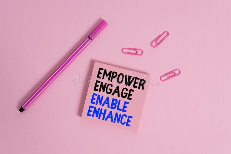 Schreibnotiz mit Empower Engage Enable Enhance Geschäftsfoto zeigt Empowerment-Führungsmotivation stockfotos