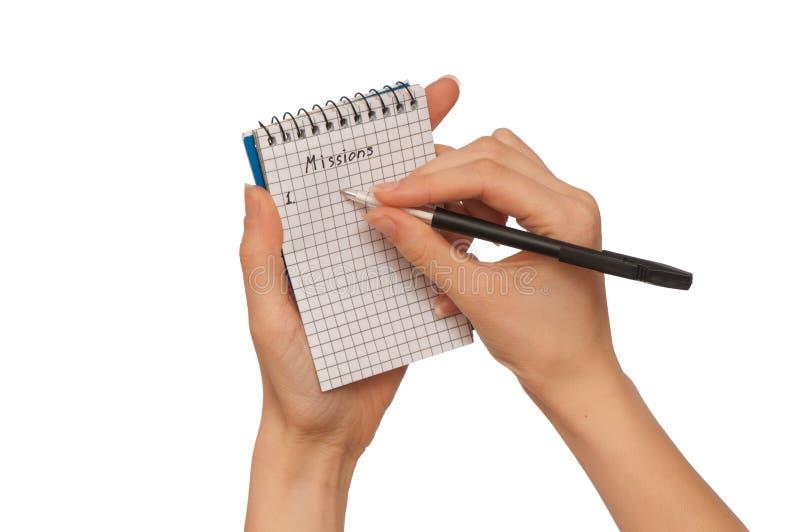 Schreibt Aufträge stockfotos