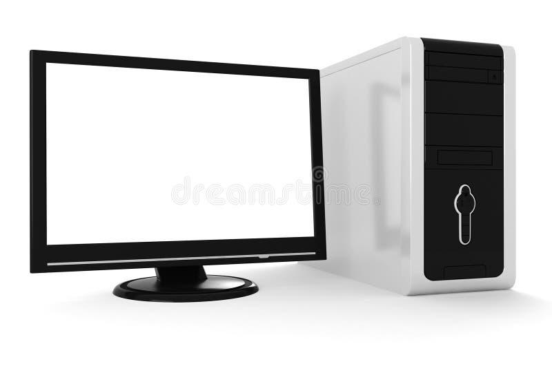 Schreibtisch 3d getrennt auf weißem Hintergrund stock abbildung