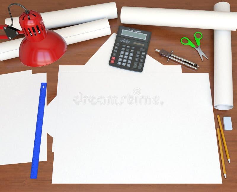 Schreibtisch. Ansicht von der Oberseite lizenzfreie abbildung