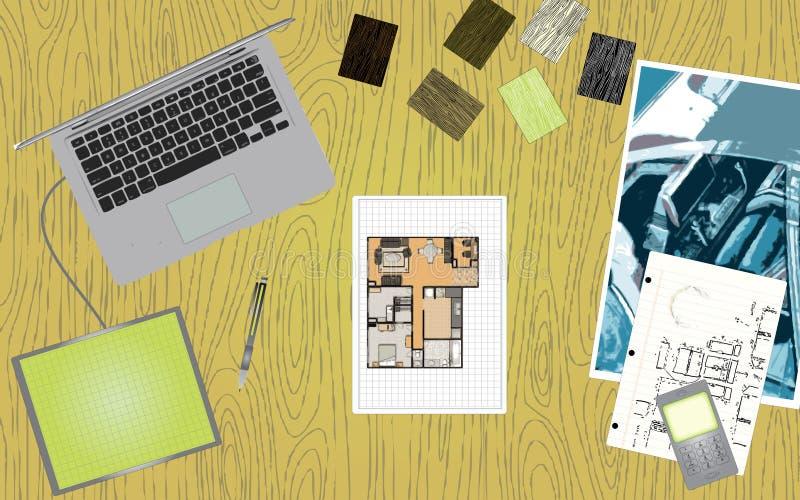 Schreibtisch des Entwerfers lizenzfreie abbildung