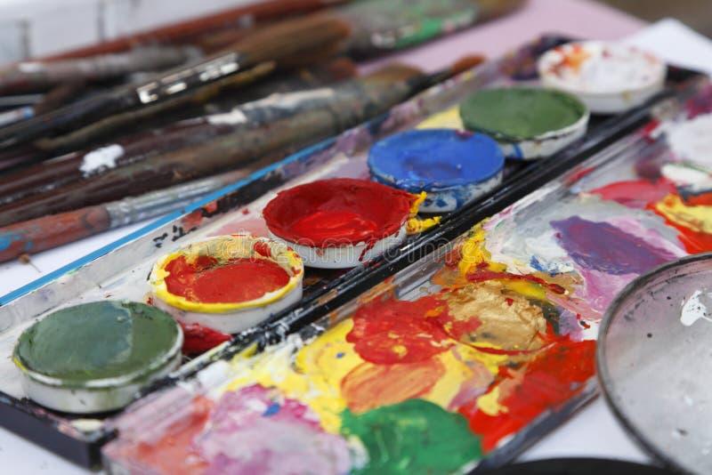 Schreibtisch des Malers lizenzfreie stockfotos