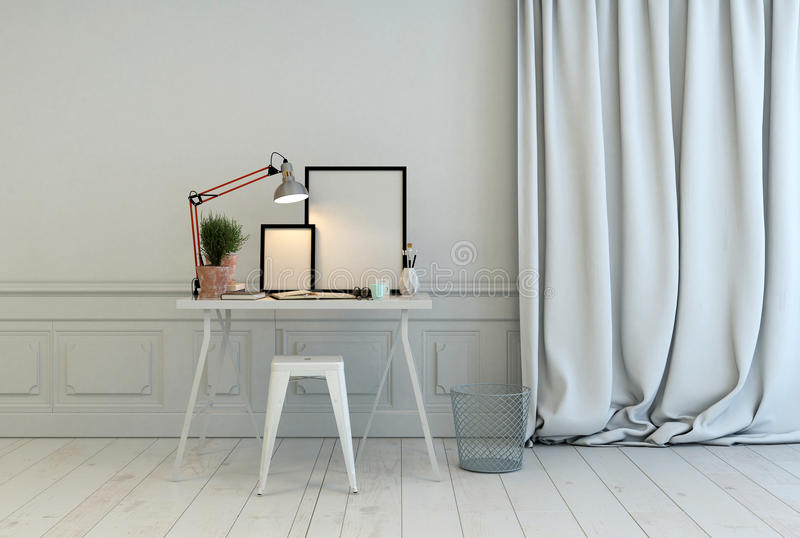 Schreibtisch in einem klassischen weißen Innenraum lizenzfreies stockfoto