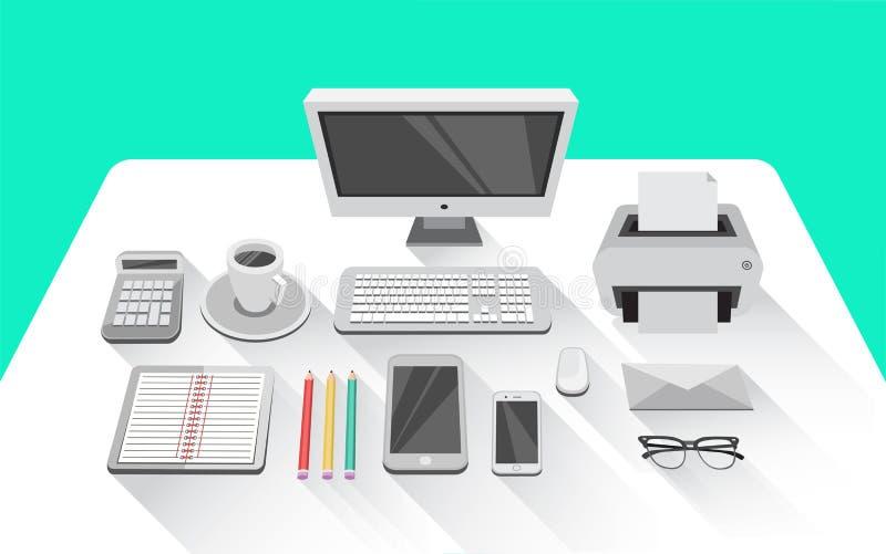 Schreibtisch mit Computer im Büroraum lizenzfreie abbildung