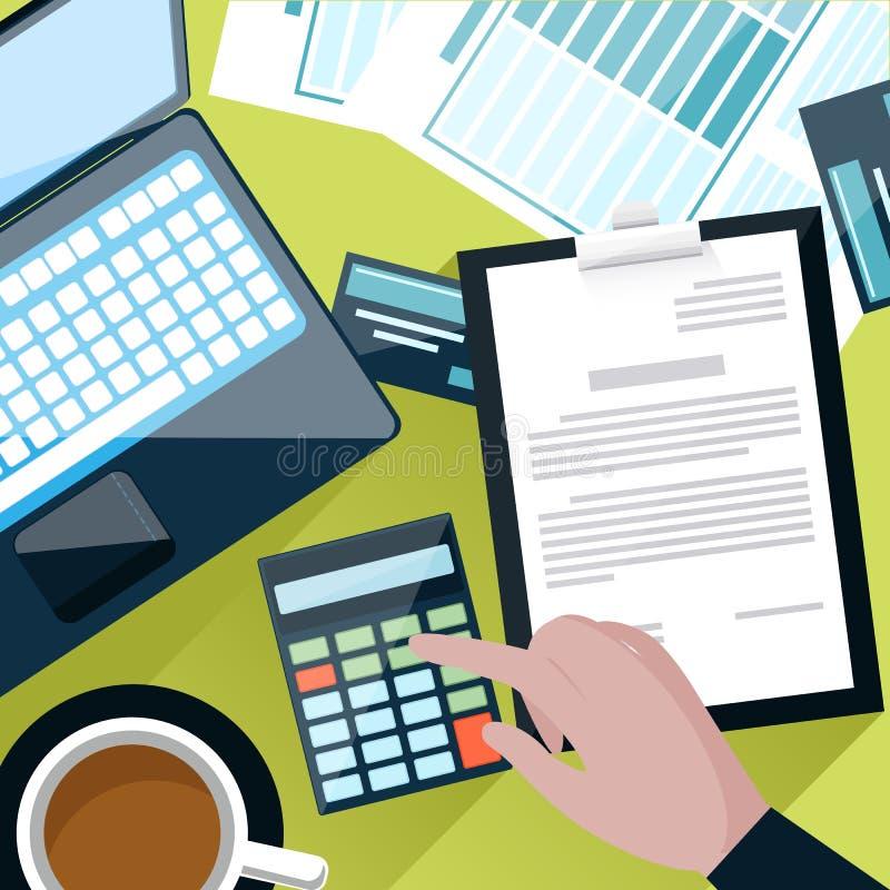 Schreibtisch mit der Zählung auf Taschenrechner stock abbildung