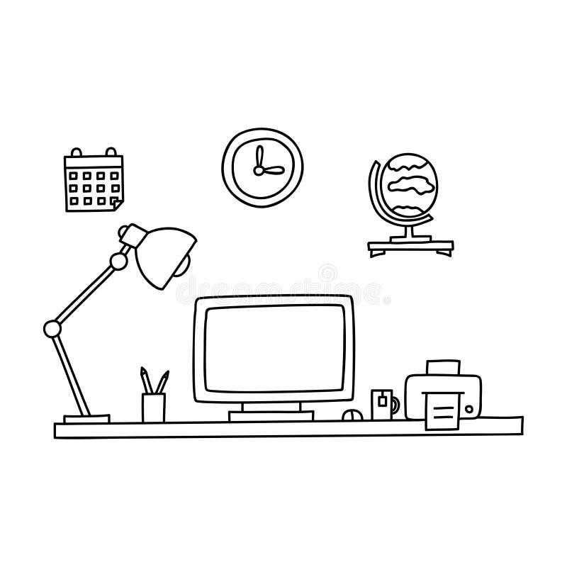 Schreibtisch gezeichnet  Schreibtisch Mit Einem Computer Oder Arbeitsplatz Im Büro, Das ...