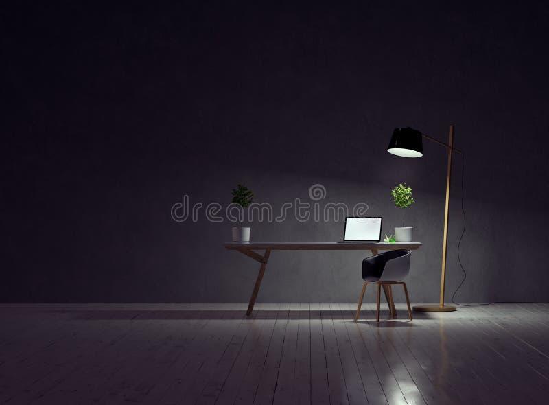 Schreibtisch mit einem Laptop und Stuhl auf einem leeren grauen weißen Bretterboden der Betonmauer und der Weinlese und einer Lam stockfoto