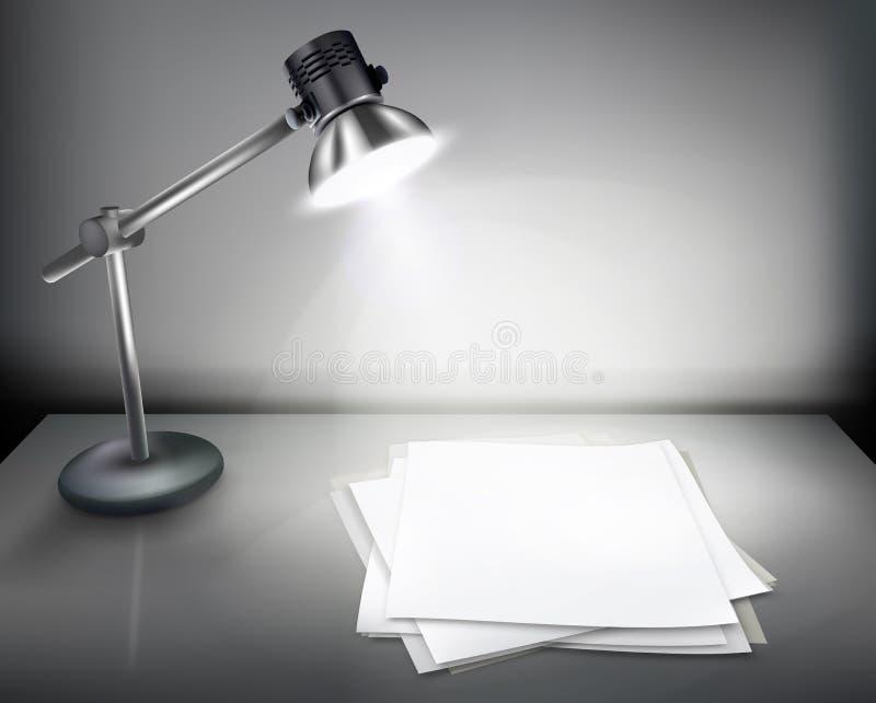 Schreibtisch mit Lampe. stock abbildung