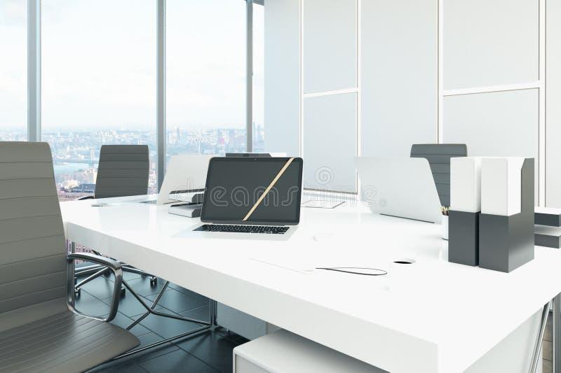 Schreibtisch mit Laptop lizenzfreie abbildung