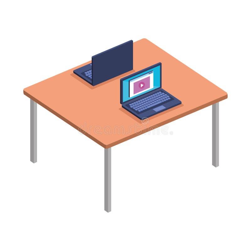 Schreibtisch mit Laptops stock abbildung