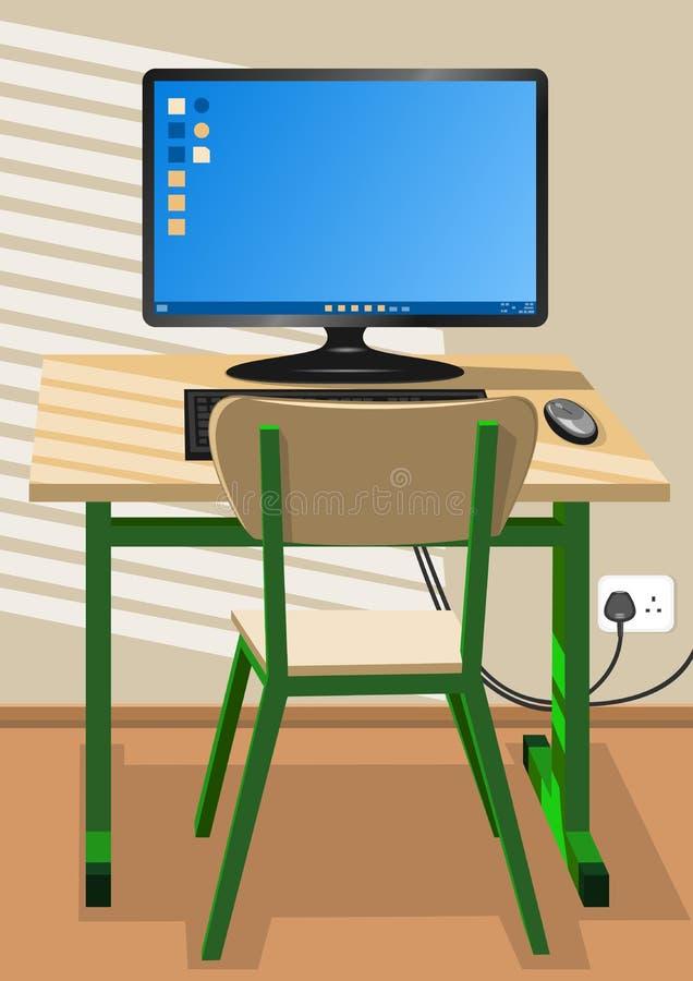 Schreibtisch, Stuhl und ein Computer lizenzfreie abbildung