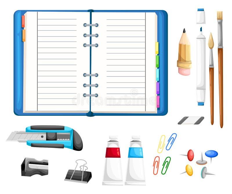 Schreibtisch- und Arbeitsplatzkonzept mit flacher moderner Ikone entwerfen flache Ikonen der Illustration von modischen täglichen lizenzfreie abbildung