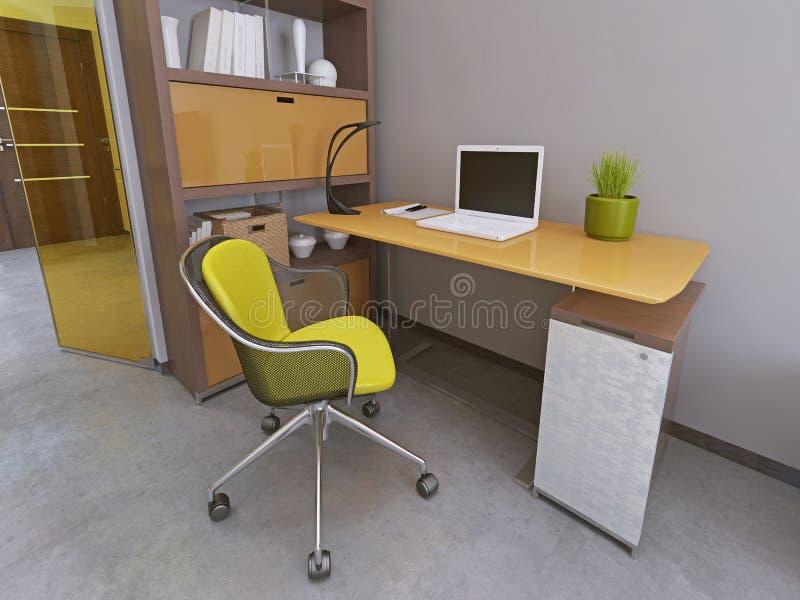 schreibtisch und stuhl im modernen wohnzimmer stock abbildung illustration von hintergrund. Black Bedroom Furniture Sets. Home Design Ideas