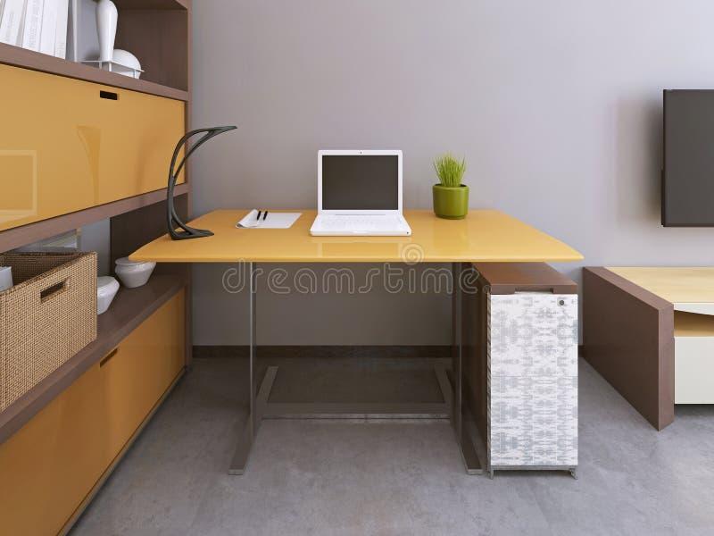 schreibtisch und stuhl im modernen wohnzimmer stock abbildung illustration 79497760. Black Bedroom Furniture Sets. Home Design Ideas