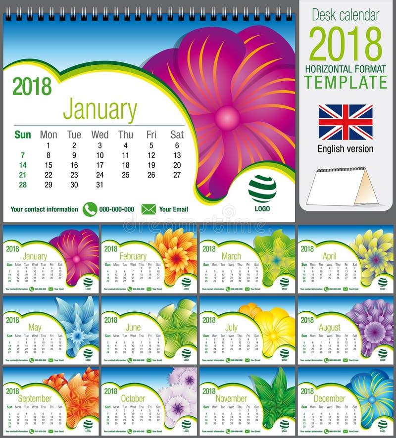 Schreibtischdreieck-Kalenderschablone 2018 mit abstraktem Blumenmuster Größe: 21 cm x 15 cm Format A5 Regenbogen und Wolke auf de lizenzfreie abbildung