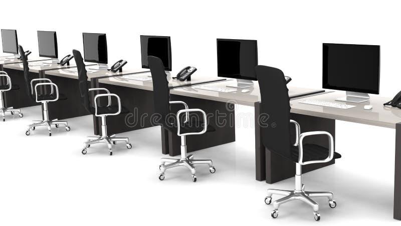 Schreibtische mit Ausrüstung und schwarzen Stühlen lizenzfreie abbildung