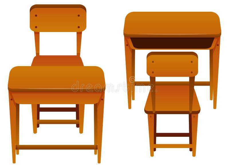 Schreibtische und Stühle gemacht vom Holz vektor abbildung