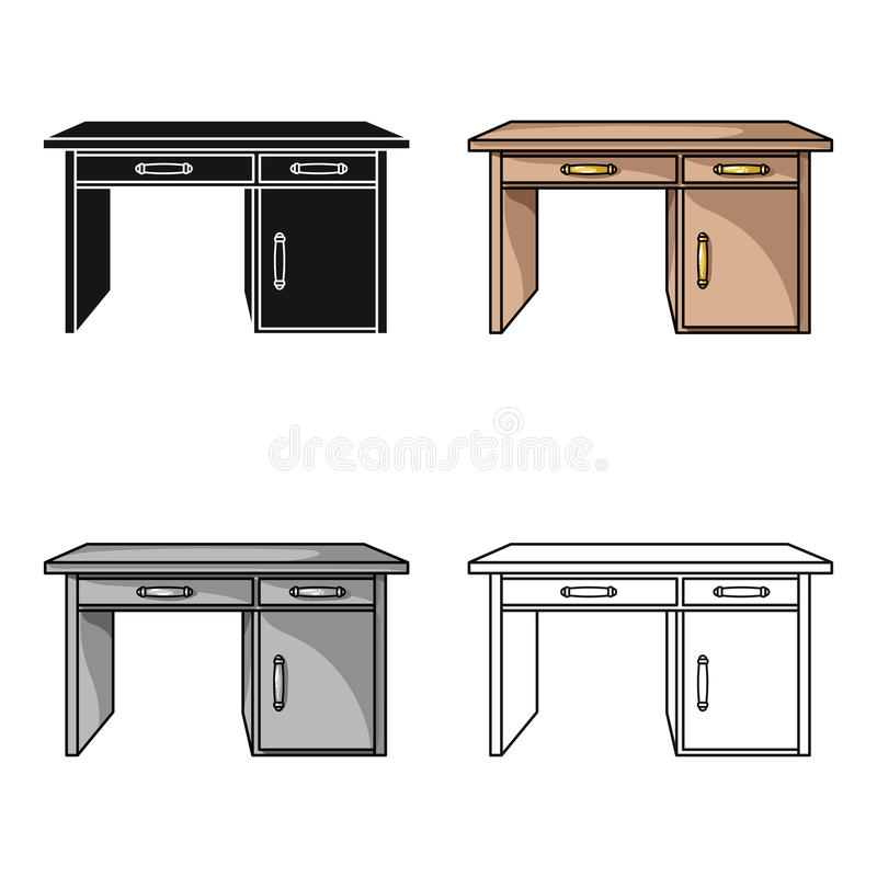 Schreibtischikone in der Karikaturart lokalisiert auf weißem Hintergrund Möbel- und Ausgangsinnensymbolvorratvektor stock abbildung