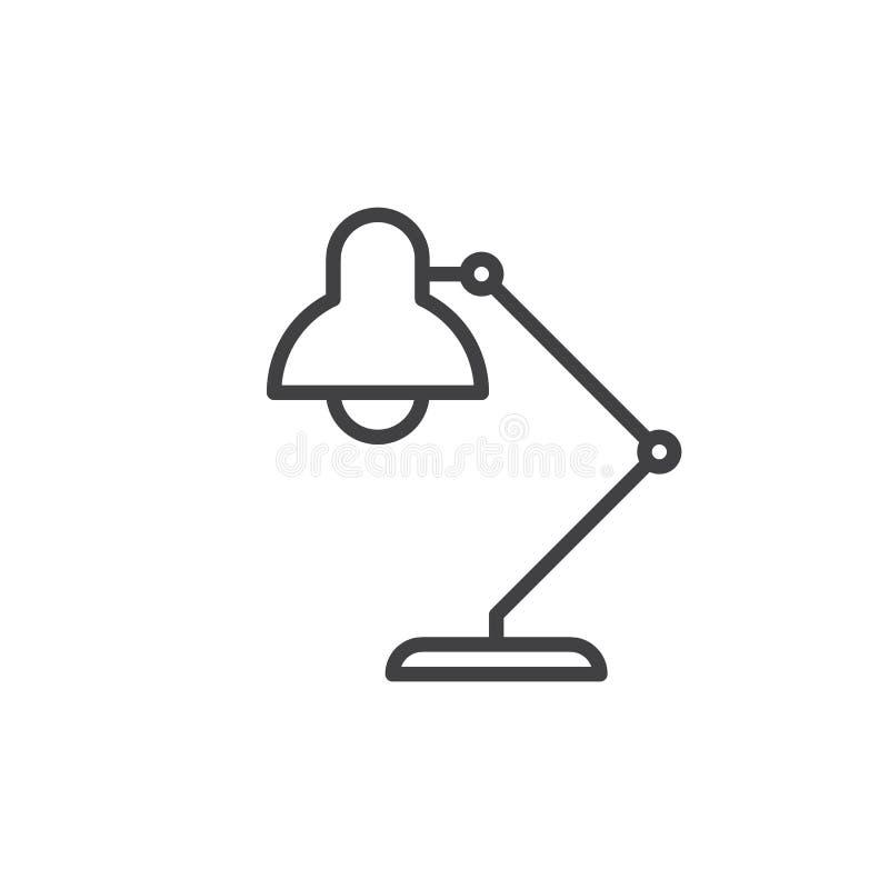 Schreibtischlampenlinie Ikone, Entwurfsvektorzeichen, lineares Artpiktogramm lokalisiert auf Weiß vektor abbildung