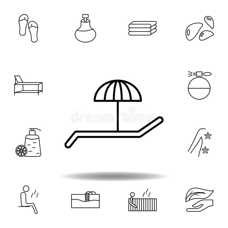 Schreibtischstuhl unter Regenschirmentwurfsikone Ausführlicher Satz des Badekurortes und Illustrationsikone sich entspannen Kann  lizenzfreie abbildung