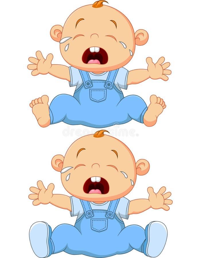Schreiende Babyzwillinge der Karikatur lokalisiert auf weißem Hintergrund vektor abbildung