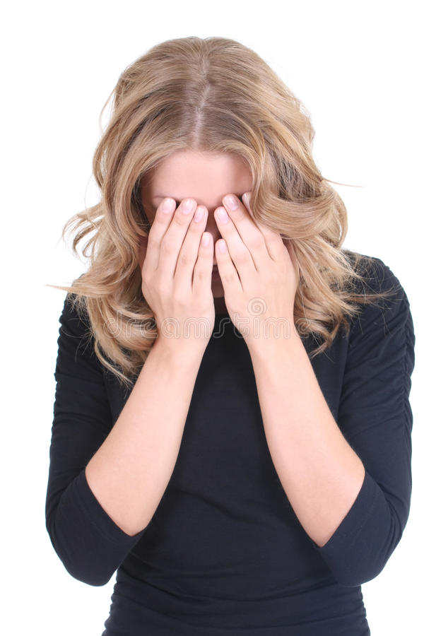 Schreiende blonde Frau im Schwarzen lizenzfreies stockbild