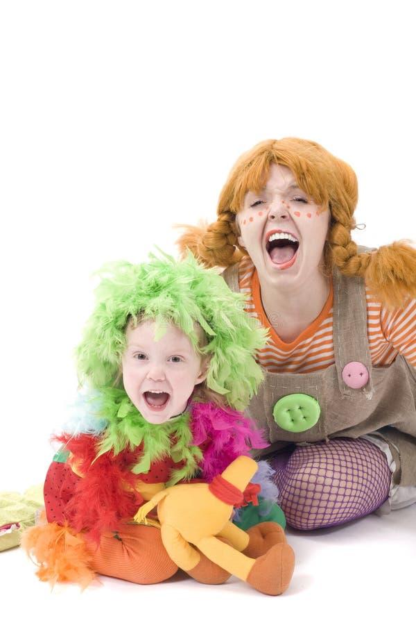 Schreiende Clowne stockbild
