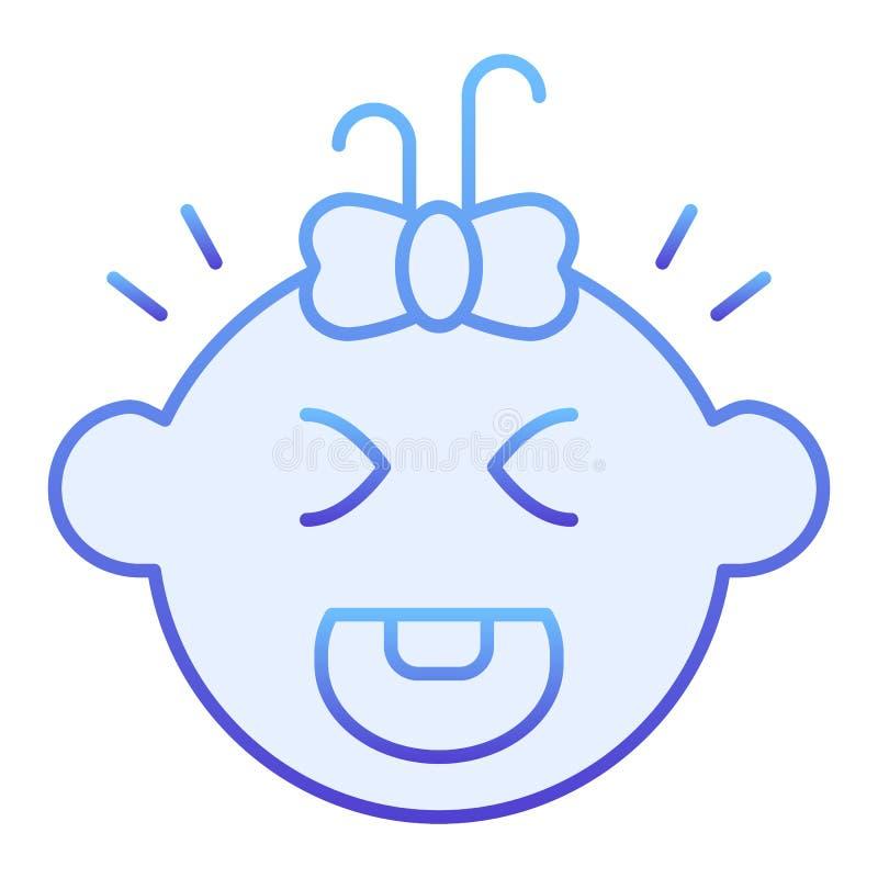 Schreiende flache Ikone des Babys Blaue Ikonen des Kinderschreies in der modischen flachen Art Kindergesichtssteigungs-Artentwurf vektor abbildung