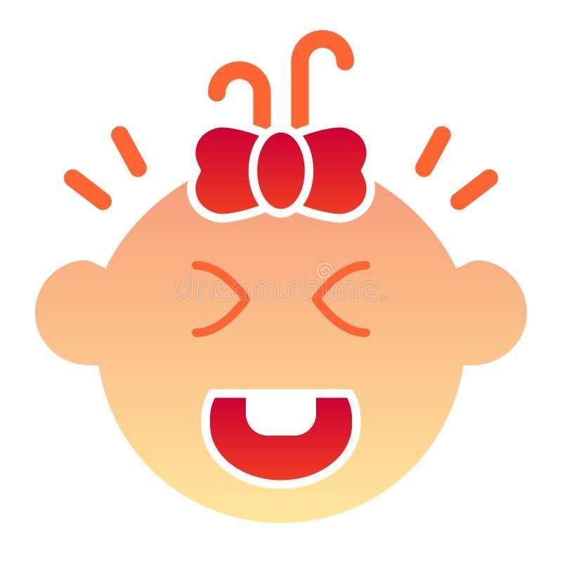 Schreiende flache Ikone des Babys Kinderschrei-Farbikonen in der modischen flachen Art Kindergesichtssteigungs-Artentwurf, bestim vektor abbildung