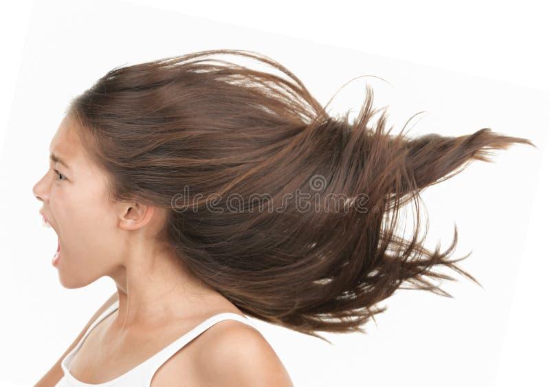 Schreiende Frau in der Raserei lizenzfreie stockbilder