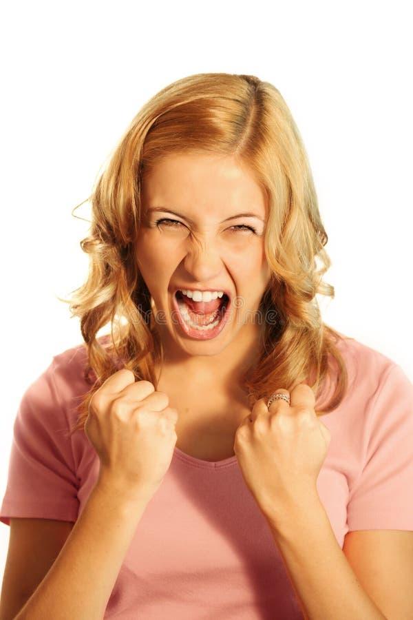 Schreiende Geschäftsfrau stockbilder