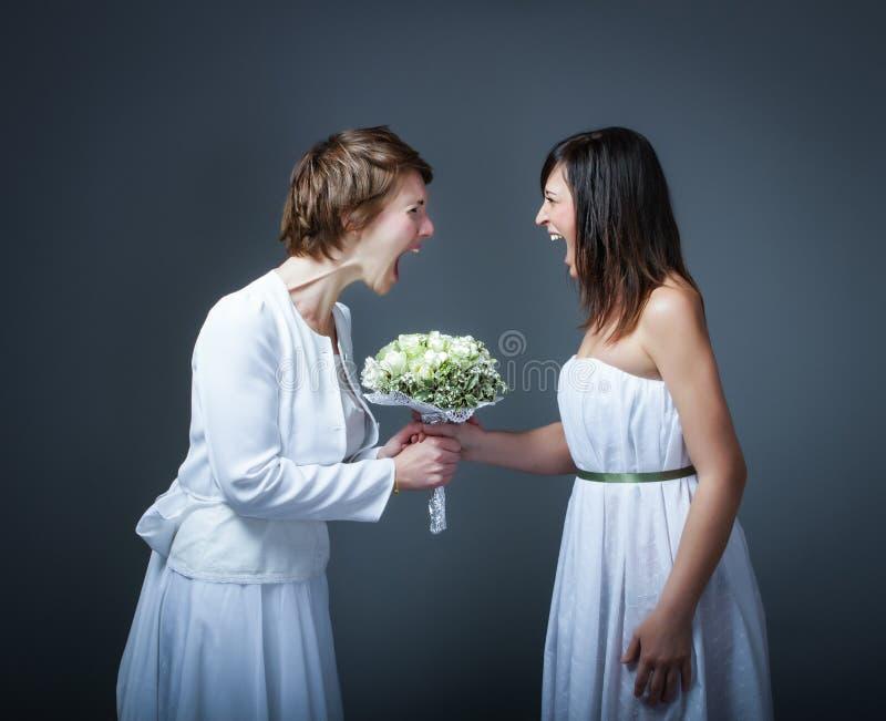 Schreiende Hochzeitstagfrau stockfoto