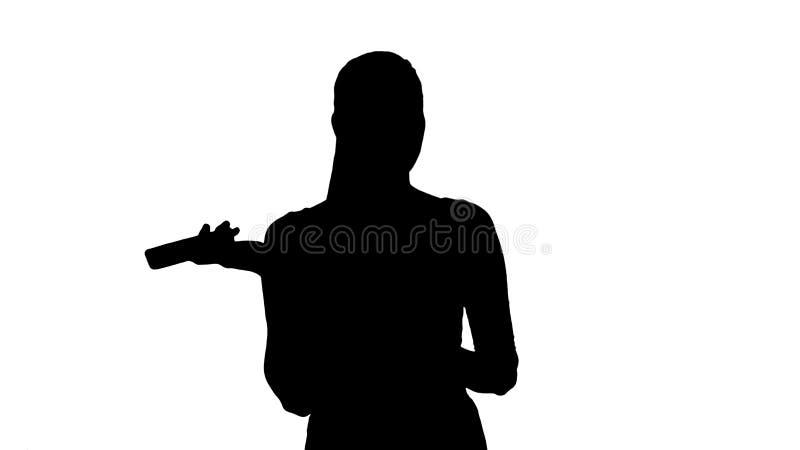 Schreiende Schattenbild-Frau und am Telefon argumentieren lizenzfreie abbildung