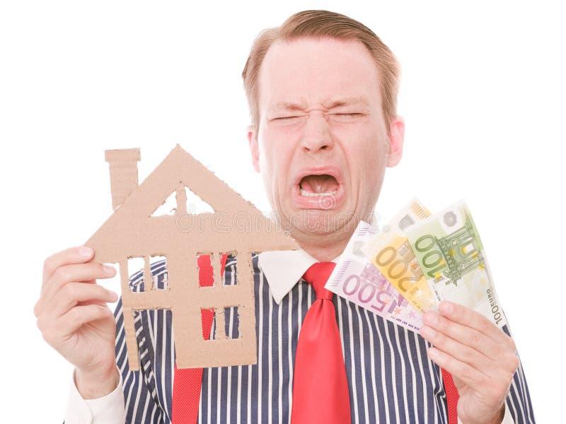 Schreiender Geschäftshauseigentümer mit Geld lizenzfreies stockbild